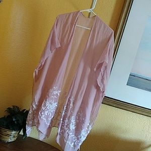 Thin cotton linen embroidered beach cover up OS
